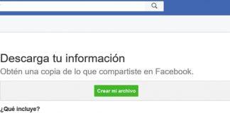 Descargar información Facebook