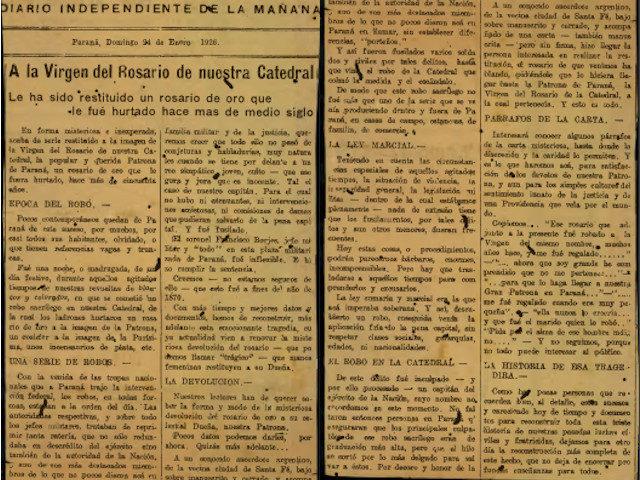 Noticia del Diario La Acción sobre rosario robado y devuelto