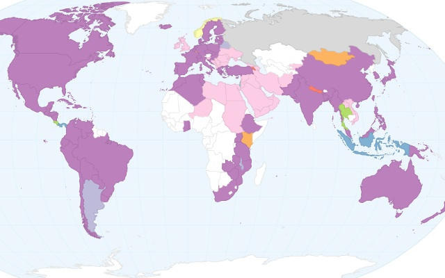 Mapa mundial del dia de la madre