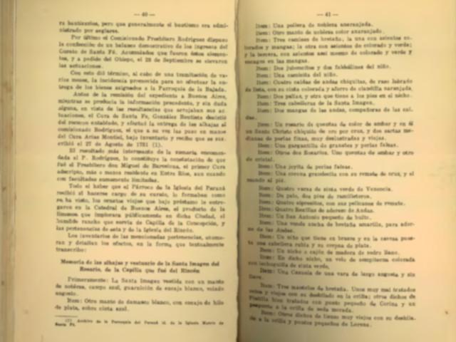 memoria de alhajas y vestuario de la virgen del rosario de la Capilla del Rincon Libro